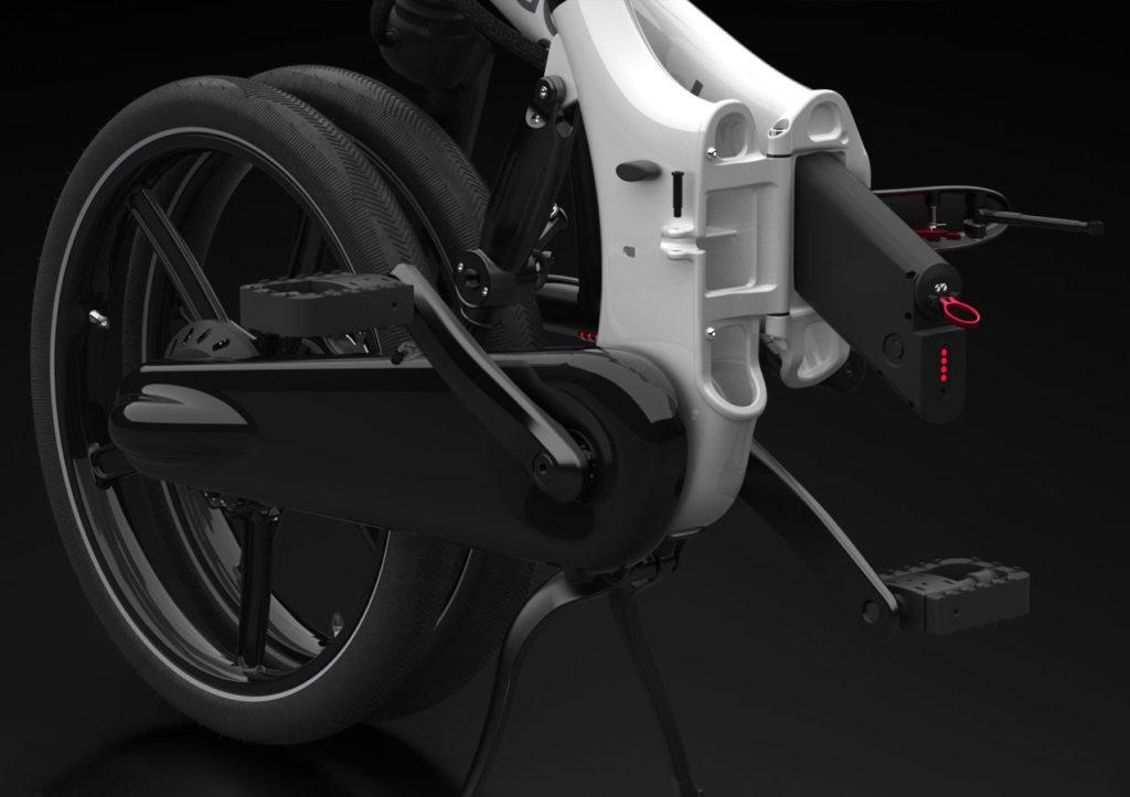 Gocycle GXi taittosähköpyörän akun irrotus